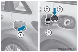 notice d 39 utilisation mercedes benz classe b ravitaillement en carburant ravitaillement en. Black Bedroom Furniture Sets. Home Design Ideas